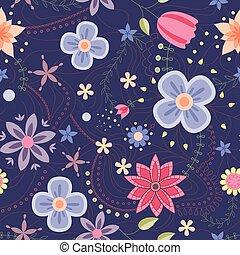 Flowers pattern vintage on dark blue - Vector flowers...