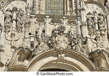 Stone sculptures on facade of Igreja church - Detail of...
