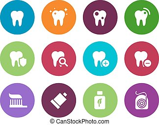 Tooth, teeth circle icons on white background. Vector...