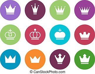 Crown circle icons on white background. - Crown circle icons...