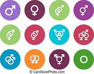 Gender identities circle icons on white background. Vector...