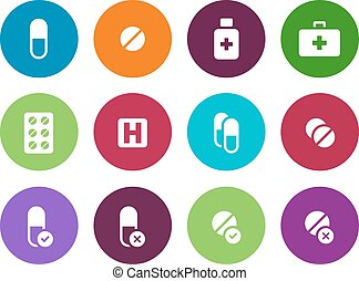 Pills, medication circle icons on white background.