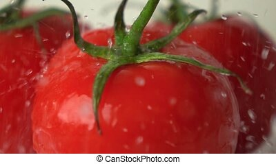 Pouring water over red ripe tomatoes with green leaves super slow motion shot