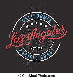 Los Angeles design print - Los Angeles vintage calligraphic...