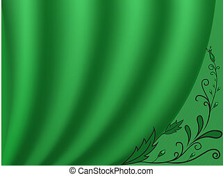 green curtain with a light backgrou