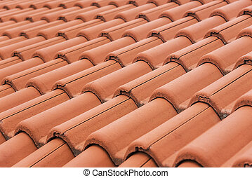 Red roof texture. - Close-up of roof tiles. Red roof...