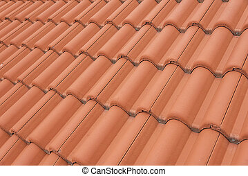 Red roof texture - Close-up of roof tiles Red roof texture...