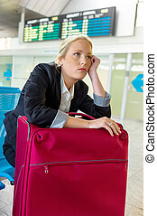 businesswoman waiting at airport - businesswoman waiting for...
