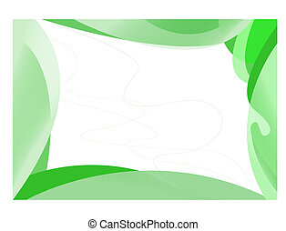 Abstract green frame of smooth wide lines on a white...