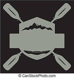Graphic illustration. - Canoe boat with oars.