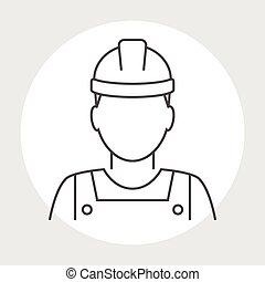 Worker avatar line icon Industrial worker person