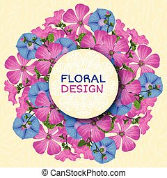 Summer background with flowers. Trendy Design Template....