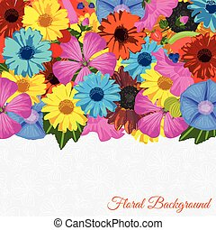 Floral background with flowers and fruits. Trendy Design...