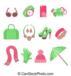 Women`s accessories icons set
