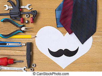 Happy fathers day sticker, tools, black paper mustache on...
