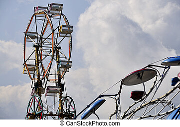 Ferris Wheel - A large ferris wheel or big wheel at a fair