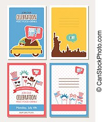set of cards and invitations for 4th of July, independence...
