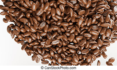 roasted coffee beans mix isolated on white