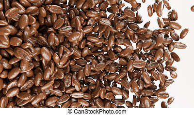 roasted coffee beans tossed and mixed isolated