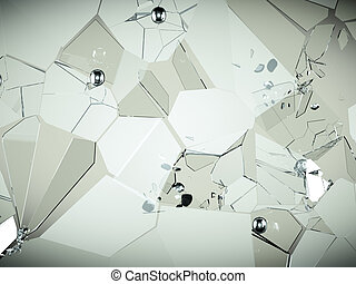 Cracked and broken glass pieces with high resolution