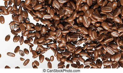 flying and mixing roasted coffee beans isolated