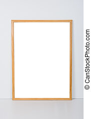 Empty wooden frame, interior poster mock-up - Empty wooden...