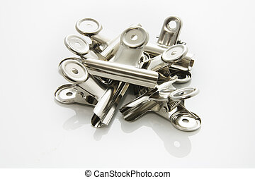 Paper Clips on Seamless White Background