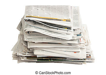 Old Newspapers for Recycling on White Background