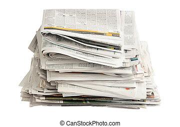 viejo, periódicos, reciclaje