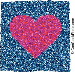 purple heart with blue texture on background