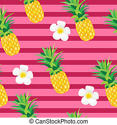 Pineapple with Exotic Flowers Seamless Pattern. Tropical...
