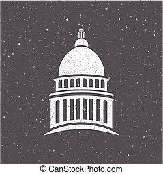 USA capitol logo vintage style Vector graphic design