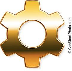 Golden gear logo. Vector graphic design