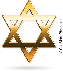 Golden Star of David logo. Vector graphic design