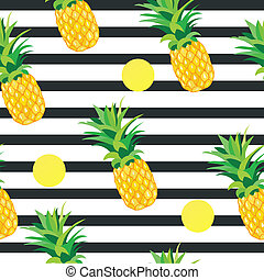 Pineapple with Golden Dots Seamless Pattern. Tropical Summer Illustration for wallpaper, background, wrapper or textile