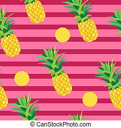 Pineapple with Golden Dots Seamless Pattern. Tropical Summer...