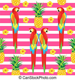 Parrot and Pineapple Seamless Pattern. Exotic Flowers. Tropical Summer Illustration for wallpaper, background, wrapper or textile