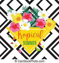 Exotic Flowers Banner Isolated. Vector geometric...