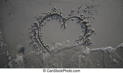 Heart Being Washed Away On Sandy Beach - Heart Being Washed...