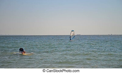 Beautiful aerial view of windsurfers sailing on blue sea....