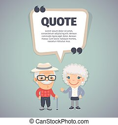 Quote Speech Banner and Elderly Couple - Quote speech banner...