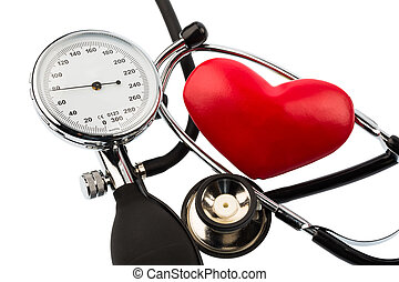 sphygmomanometer and heart - a sphygmomanometer, a heart and...
