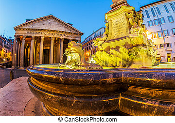 italy, rome, pantheon. night scene with fountain