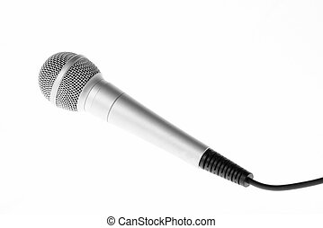 Concert microphone with cord on white background