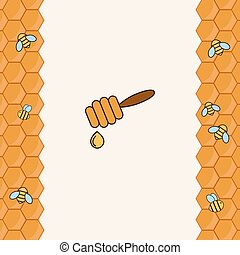 Background with bees on the honeyco