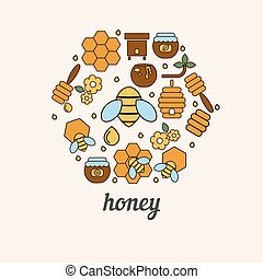 Honey and bee icons in the shape of