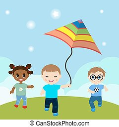Running children with flying kite. - Vector illustrations of...