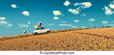 driving car and road - 3d illustration of car loaded with...