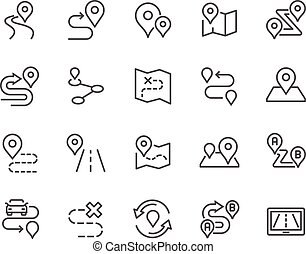 Line Route Icons - Simple Set of Route Related Vector Line...