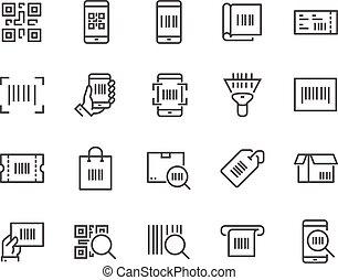 Line QR Code Icons - Simple Set of QR Code Related Vector...